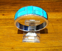RINGS NAVAJO SILVER SLEEPING BEAUTY TURQUOISE INLAY WIDE BAND RNSSBTIWB33