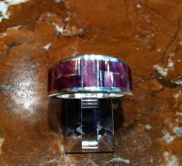 RINGS NAVAJO SILVER PURPLE RARE SPINY OYSTER SHELL BAND RNSPRSOS3
