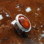 RINGS NAVAJO SILVER ORANGE SPINY OYSTER SHELL KY