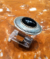 RINGS NAVAJO SILVER ONYX Kee Nez RNSOKN4 SOLD