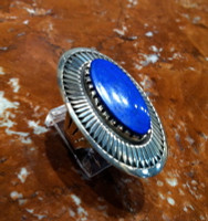 RINGS NAVAJO SILVER LAPIS CABOCHON OVAL Kee Nez SOLD