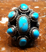 RINGS NAVAJO SILVER DOMED TURQUOISE CABOCHONS
