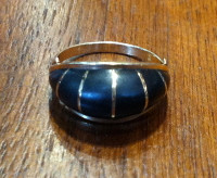 RINGS NAVAJO 14KT GOLD DOMED JET Tim Bedah SOLD