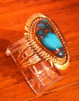 RINGS NAVAJO GOLD BISBEE ASYMMETRICAL TURQUOISE RING Frances SOLD