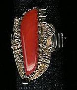 RINGS*HOPI*GOLD*CORAL*Roy Talahaftewa