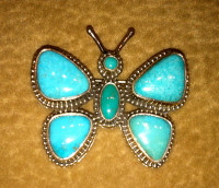 PIN SILVER TURQUOISE BUTTERFLY