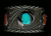 Navajo Silver Turquoise & Coral Pawn Bracelet NSTCPB2