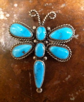 Navajo Sterling Silver Turquoise Dragonfly Pin Pendant RLD SOLD