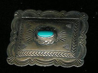 Navajo Sterling Silver Stamped Turquoise Money Clip NSSSTMC3