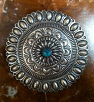 Navajo Sterling Silver Round Stamped Repose Pin Sunshine Reeves