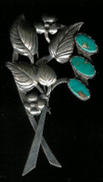 Navajo Blue Gem Turquoise Silver Floral Leaf Pattern Pin SOLD