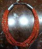 NAVAJO 5 STRAND ORANGE CORAL HEISHI NECKLACE ALBERT LEE