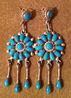 EARRINGS ZUNI TURQUOISE CLUSTER DANGLE CHANDELIER Lorraine Waatsa
