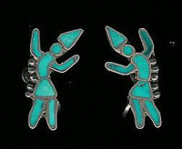 EARRINGS ZUNI PAWN INLAY RAINBOWMAN TURQUOISE SCREWBACK Dishta