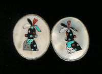 EARRINGS ZUNI MULTI-INLAY CLIP PAWN KACHINA