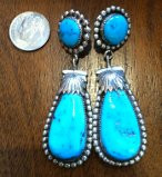 EARRINGS ZUNI KINGMAN TURQUOISE DANGLE Robert Leekya SOLD