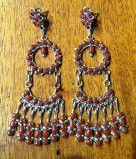 EARRINGS ZUNI CORAL CLUSTER DANGLE CHANDELIER EZCCDC87