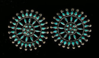 EARRINGS*ZUNI*TURQUOISE*NEEDLEPOINT*SCREWBACK*PAWN*