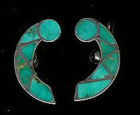 EARRINGS*ZUNI*TURQUOISE*INLAY*SCREWBACK*PAWN