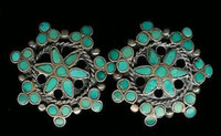 EARRINGS*ZUNI*TURQUOISE*INLAY*CLUSTER*SCREWBACK*PAWN*Dishta