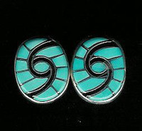 EARRINGS ZUNI TURQUOISE INLAY HUMMINGBIRD Amy Quandelacy SOLD