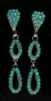EARRINGS*ZUNI*TURQUOISE*DANGLE*INLAY*SCREWBACK*PAWN*