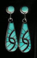 EARRINGS*ZUNI*TURQUOISE*DANGLE*INLAY*Amy Quandelacy