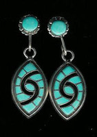 EARRINGS ZUNI TURQUOISE DANGLE HUMMINGBIRD INLAY Amy Quandelacy ERZTDIAQ4