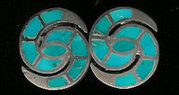 EARRINGS*ZUNI*TURQUOISE*HUMMINGBIRD*CLIP*INLAY*PAWN