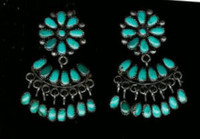EARRINGS*ZUNI*TURQUOISE*CLUSTER*DANGLE*FRENCH WIRE*PAWN