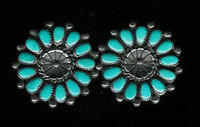EARRINGS ZUNI TURQUOISE TEARDROP PAWN