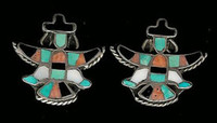 EARRINGS*ZUNI*MULTI-INLAY*KNIFEWING*PAWN*SCREWBACK ERZPS2