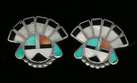 EARRINGS*ZUNI*MULTI-INLAY*SUNFACE*PAWN*SCREWBACK ERZMSPS3