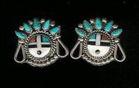 EARRINGS*ZUNI*MULTI-INLAY*SUNFACE*PAWN*SCREWBACK ERZMSPS2
