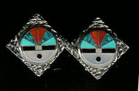 EARRINGS*ZUNI*MULTI-INLAY*SUNFACE*PAWN*CLIP*MYP