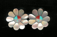 EARRINGS ZUNI MULTI-INLAY SUNFACE SOLD