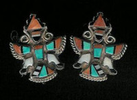 EARRINGS*ZUNI*MULTI-INLAY*KNIFEWING*PAWN*SCREWBACK ERZMKPS6