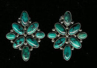 EARRINGS SANTO DOMINGO SILVER TURQUOISE Joseph Tenerio SOLD