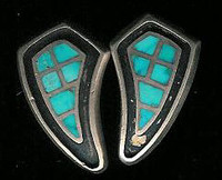 EARRINGS*ZUNI*TURQUOISE*INLAY*SCREWBACK*PAWN*