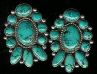 EARRINGS*SANTO DOMINGO*SILVER*TURQUOISE*Joseph Tenerio Sold