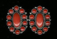 EARRINGS*SILVER*CORAL Sold