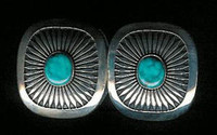 EARRINGS*NAVAJO*SILVER*TURQUOISE*Howard Nelson ERHN2