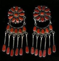 EARRINGS*ZUNI*SILVER*CORAL*CLUSTER*Robert Leekya