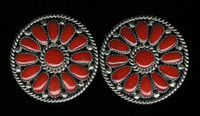 EARRINGS*ZUNI*CORAL*CLUSTER*CLIP*Lorraine Waatsa