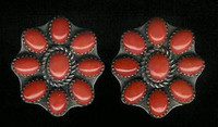 EARRINGS*NAVAJO*SILVER*CORAL*Jeanette Dale ERCJD3