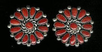 EARRINGS*NAVAJO*SILVER*CORAL*Jeanette Dale