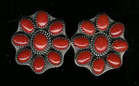 EARRINGS*NAVAJO*SILVER*CORAL*CLIP*Jeanette Dale
