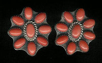 EARRINGS*NAVAJO*SILVER*CORAL*Jeanette Dale ERCJD4