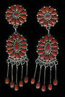EARRINGS*ZUNI*SILVER*CORAL*CLUSTER*Alice Quam