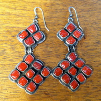 EARRINGS NAVAJO ZUNI SILVER CORAL DANGLE FRENCH WIRE S
